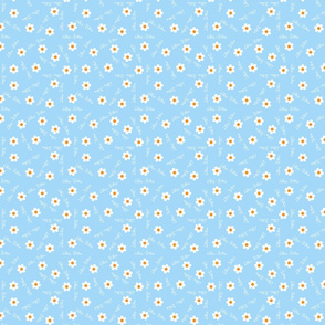 Personalised Name Fabric - Handwritten Blue Daisies