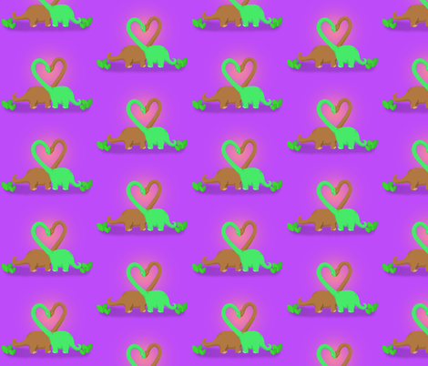 Purple Brachiosaurus Valentine fabric by angelcallie on Spoonflower - custom fabric