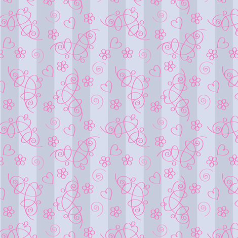 Tiara Tossed Damask fabric by stitchstapleglue on Spoonflower - custom fabric