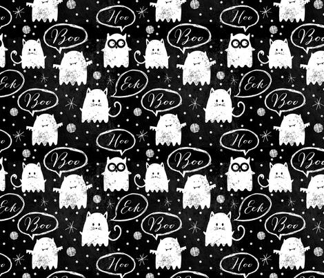 Chalkboard Ghost Friends fabric by twoifbyseastudios on Spoonflower - custom fabric