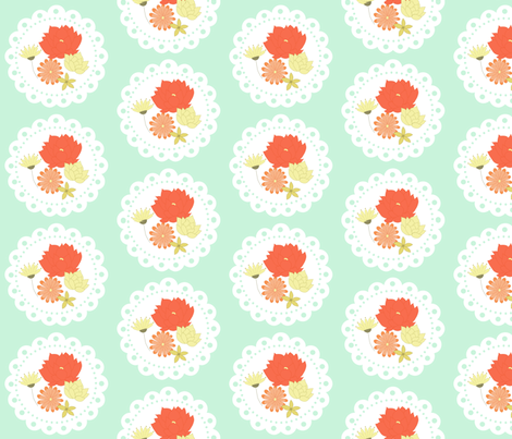 Minty floral doily fabric by mintpeony on Spoonflower - custom fabric