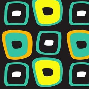 Wonky Squares Turquoise & Yellow