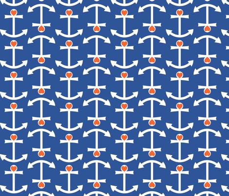 Anchor Love Large - Orange fabric by srbracelin on Spoonflower - custom fabric