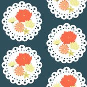 Dark blue/grey floral doily