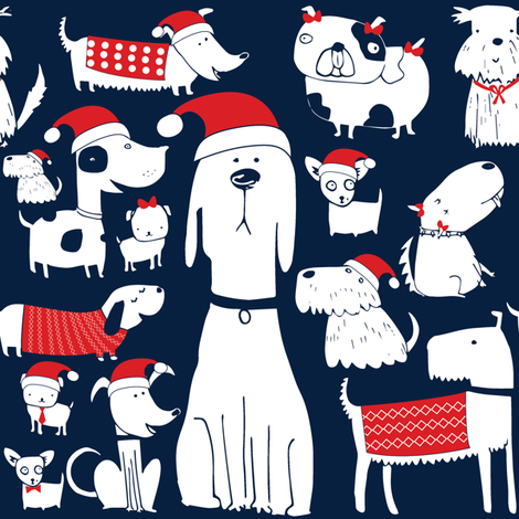dogs christmas  fabric by laurawrightstudio on Spoonflower - custom fabric