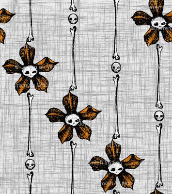 Skull Flower Stripes 2 - orange