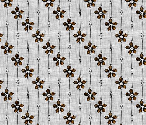 Skull Flower Stripes 2 - orange fabric by thecalvarium on Spoonflower - custom fabric