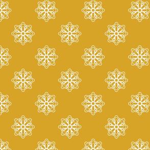 Snowflakes Mandalas on Gold Tone