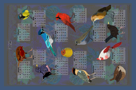 2014 Calendar fabric by linsart on Spoonflower - custom fabric