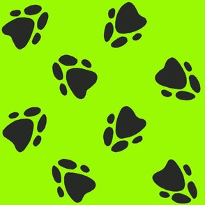 Pawprints Neon Green