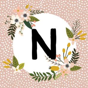 Blush Sprigs and Blooms Monogram Blanket // N