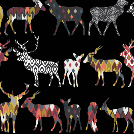 charcoal spice deer fabric by scrummy on Spoonflower - custom fabric