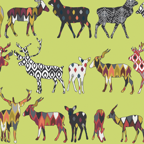 pistachio spice deer fabric by scrummy on Spoonflower - custom fabric