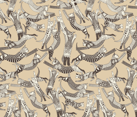 cat party beige natural fabric by scrummy on Spoonflower - custom fabric