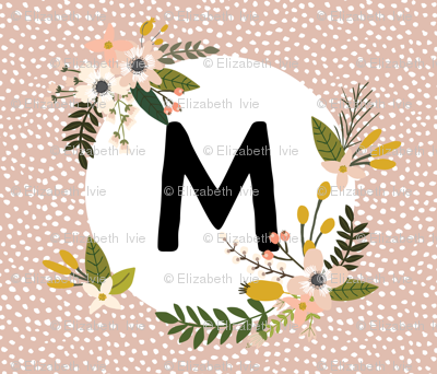 Blush Sprigs and Blooms Monogram Blanket // M
