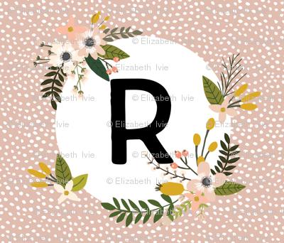 Blush Sprigs and Blooms Monogram Blanket // R