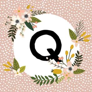 Blush Sprigs and Blooms Monogram Blanket // Q