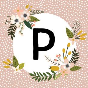 Blush Sprigs and Blooms Monogram Blanket // P