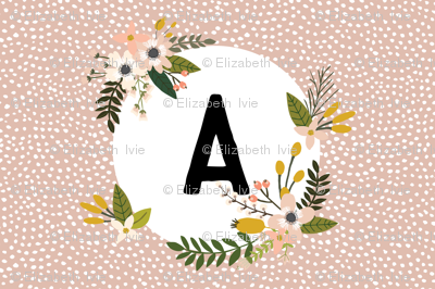 Blush Sprigs and Blooms Monogram Lovey // A