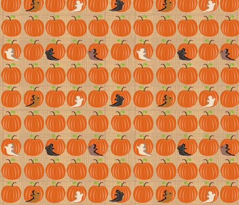 Pumpkin Patch with textured Ghosts fabric by vanillabeandesigns on Spoonflower - custom fabric
