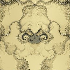 Angel Wings Demon Face Damask - Black on beige