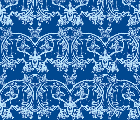 asheville deer blue fabric by lisakling on Spoonflower - custom fabric