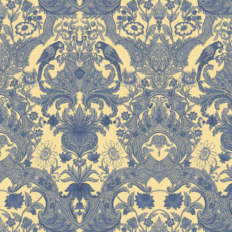 Parrot Damask ~ Provencal ~ Small fabric by peacoquettedesigns on Spoonflower - custom fabric
