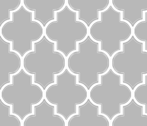 Grey and White Flourish fabric - willowlanetextiles - Spoonflower