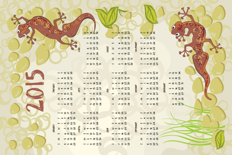 2015 gecko calendar teatowel fabric by bippidiiboppidii on Spoonflower - custom fabric