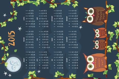 2014 owl calendar teatowel fabric by bippidiiboppidii on Spoonflower - custom fabric