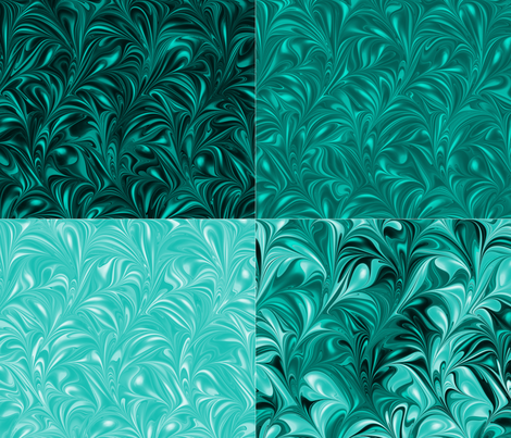 Aqua Swirl Set fabric by modernmarbling on Spoonflower - custom fabric