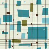 Mid-Century Modern - Grid & Stars (Teal)