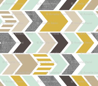 Mint Gold Chevron 90 deg