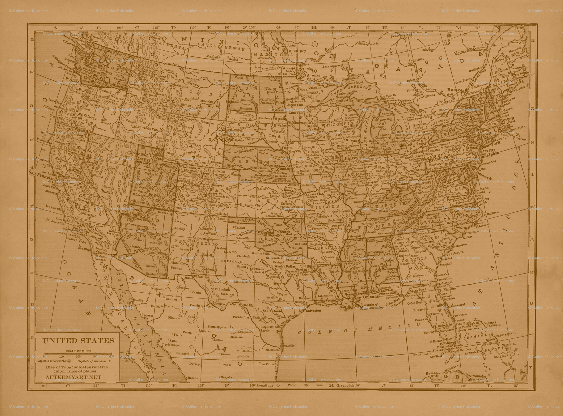 Sepia Vintage Map Of The United States Wallpaper Aftermyart