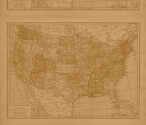 Sepia Vintage Map of  the United States fabric by aftermyart on Spoonflower - custom fabric