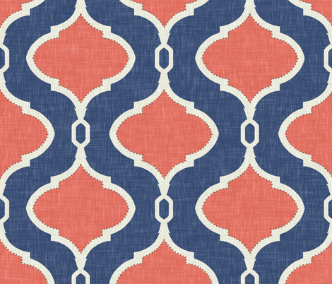 Alessandra in Navy and Coral Linen fabric by willowlanetextiles on Spoonflower - custom fabric