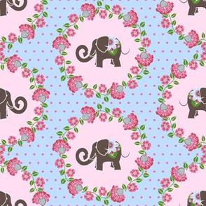 Elephant Cameo in Blue and Pink