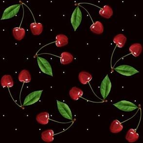 Retro cherries and stars on black