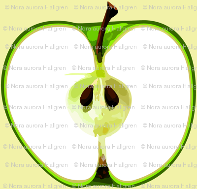 Big green apple on cream