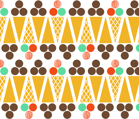 Ice cream cone- Enlarged fabric by newmomdesigns on Spoonflower - custom fabric