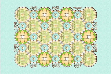 Anniversary Calendar 1941 - 2014 Light Blue fabric by inscribed_here on Spoonflower - custom fabric