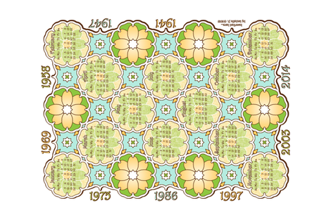 Anniversary Calendar 1941 - 2014 White fabric by inscribed_here on Spoonflower - custom fabric