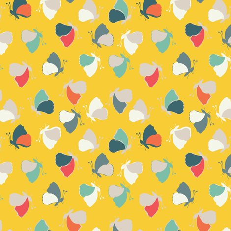 Butterflies on yellow fabric by gemmacosgroveball on Spoonflower - custom fabric