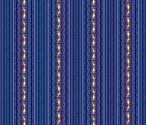 Running Greyhound Stripe, Blue and Yellow fabric by artbyjanewalker on Spoonflower - custom fabric