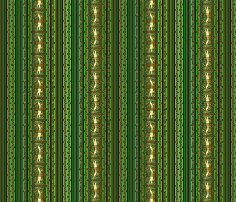 Running Greyhound Stripes, Green and Yellow fabric by artbyjanewalker on Spoonflower - custom fabric