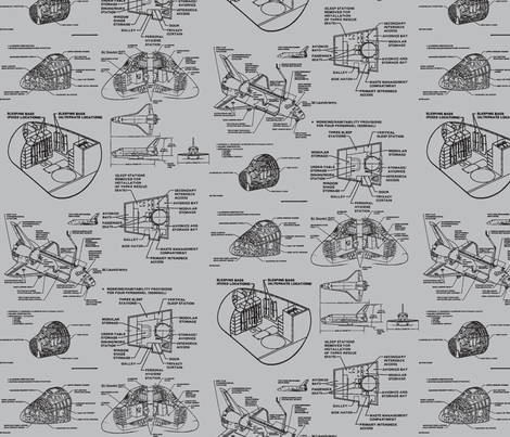 space shuttle black on grey fabric by craftyscientists on Spoonflower - custom fabric
