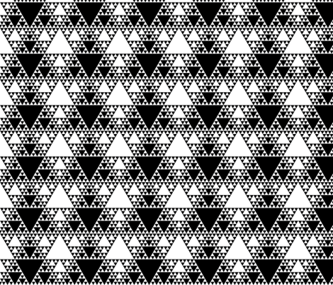 Sierpinski Triangle - Black and White fabric by will_la_puerta on Spoonflower - custom fabric
