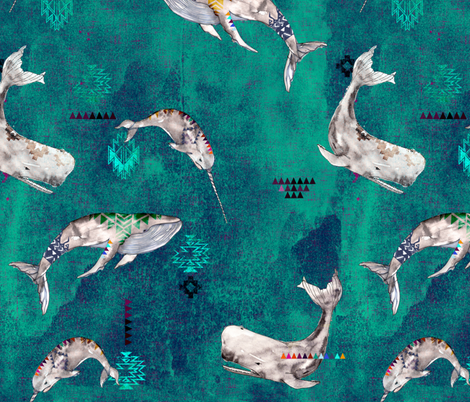 Whale Tribe (teal) (LARGE) fabric by nouveau_bohemian on Spoonflower - custom fabric