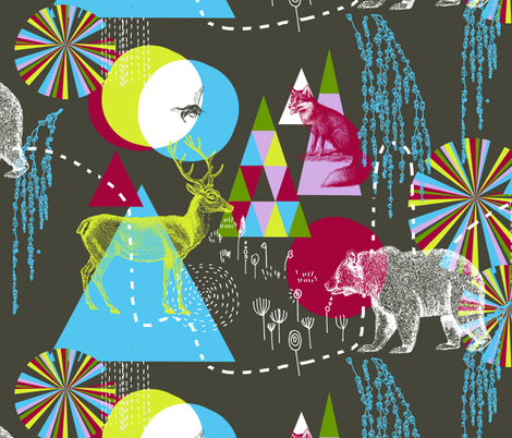 The Funky Forest  fabric by nouveau_bohemian on Spoonflower - custom fabric