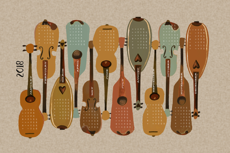 2018 Instrument Calendar  - Vintage fabric by andrea_lauren on Spoonflower - custom fabric